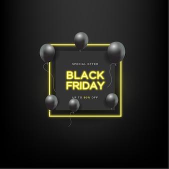 Oferta especial de venda na sexta-feira negra com balão preto e néon retângulo