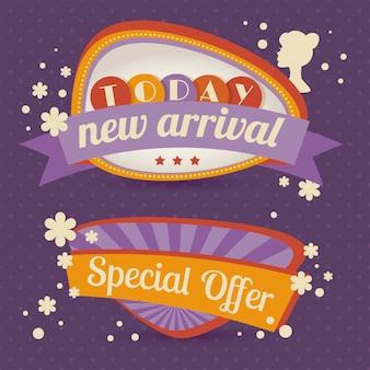 Oferta especial de venda retrô desconto discurso bolha promoção banner vector ilustração