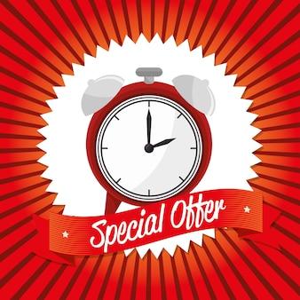 Oferta especial design de banner de relógio
