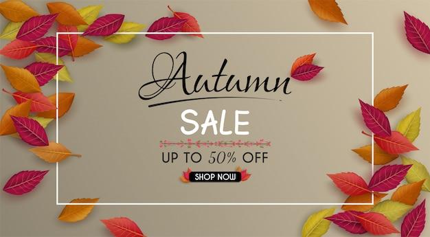 Oferta especial design de banner de venda outono. com folhas de outono sazonais coloridas.