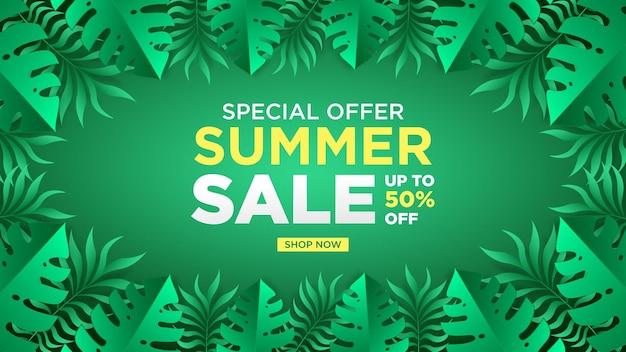 Oferta especial design de venda de verão com flor de papagaio e folhas de palmeira tropical com fundo verde banner flyer poster