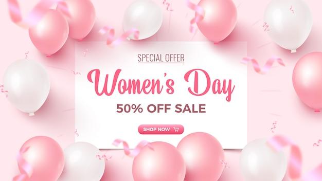 Oferta especial do dia da mulher. 50% de desconto no design da bandeira de venda com balões de ar de lençol branco, rosa e branco, confetes de folha caindo no fundo rosado. modelo de dia da mulher.