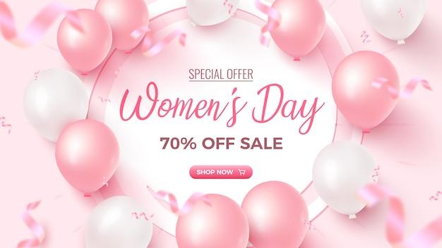 Oferta especial do dia da mulher. 70% off banner de venda com moldura branca, balões de ar rosa e branco, confetes de folha caindo na rosada. modelo de dia da mulher.