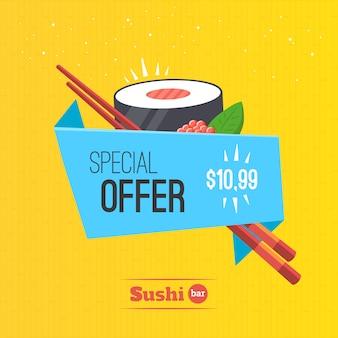 Oferta especial do molde do banner do origami do sushi em rolos. ilustração de comida japonesa.