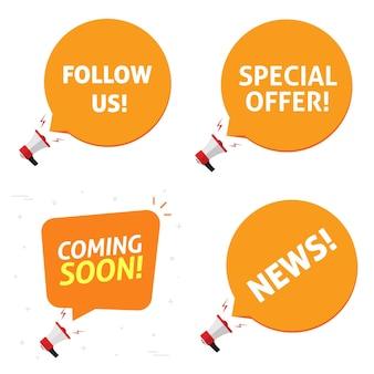 Oferta especial e em breve siga-nos e alertas de notificação de anúncio de notícias