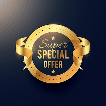 Oferta especial etiqueta dourada com fita