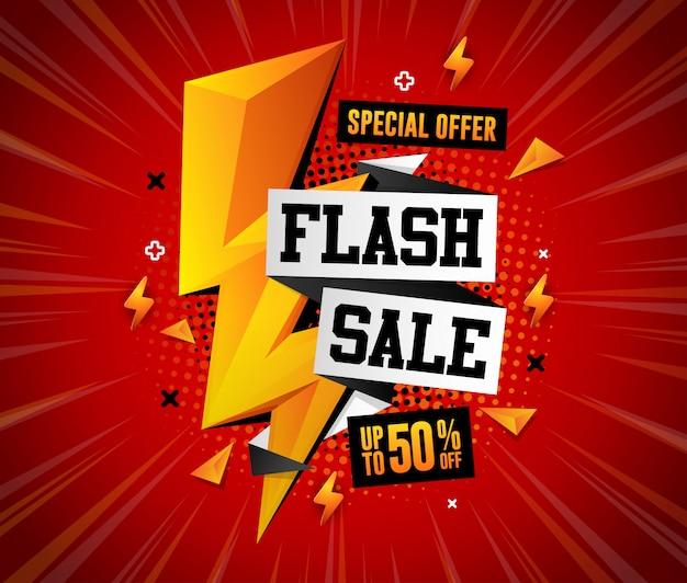 Oferta especial flash venda ilustração design quadrado