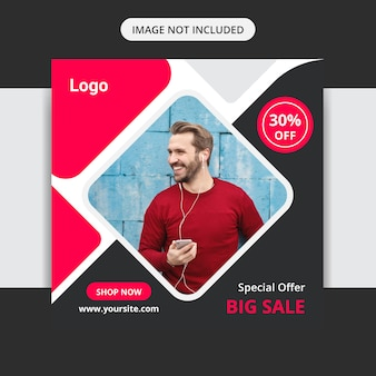 Oferta especial grande venda mídia social insta post design