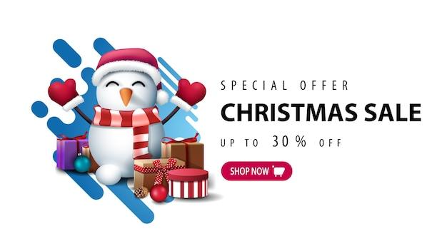 Oferta especial, liquidação de natal, até 30 de desconto, banner minimalista branco com forma líquida abstrata em azul e boneco de neve com chapéu de papai noel com presentes