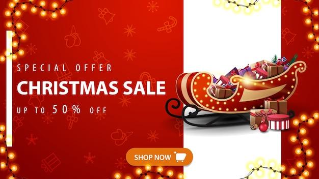Oferta especial, liquidação de natal, desconto de até 50, banner vermelho de desconto com linha branca vertical