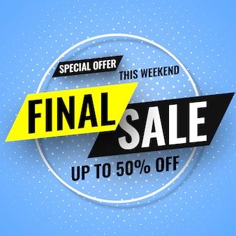 Oferta especial neste banner de venda final de fim de semana sobre fundo azul. ilustração.
