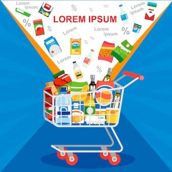 Oferta especial no conceito de vetor de venda de supermercado