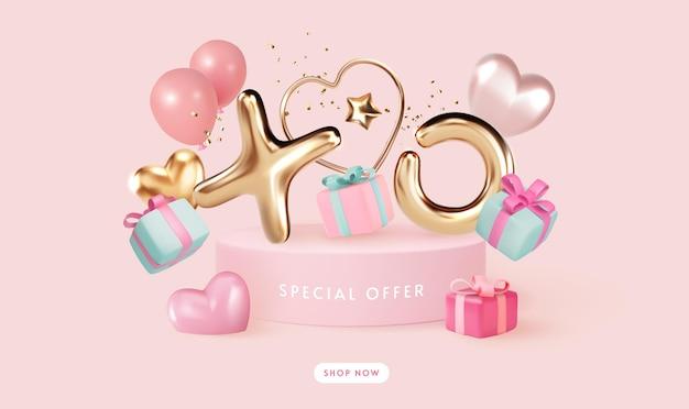Oferta especial pódio com letra dourada e caixa de presente em tons pastel