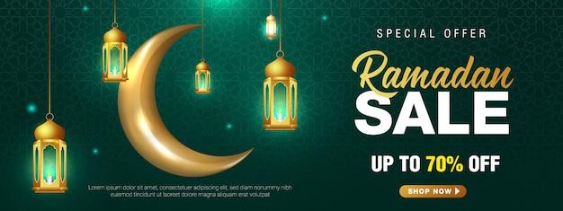Oferta especial ramadan venda ornamento islâmico lanterna crescente lua banner modelo.