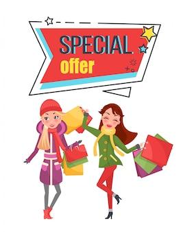 Oferta especial super preço de venda nas compras mulheres