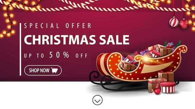 Oferta especial, venda de natal, banner de desconto roxo com trenó do papai noel