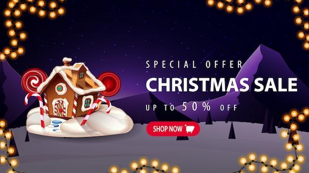Oferta especial, venda de natal, desconto de até 50%, banner de desconto com botão rosa