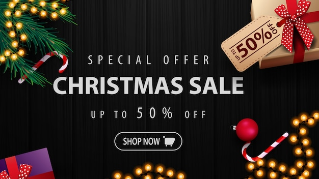 Oferta especial, venda de natal, desconto de até 50%, banner de desconto com presentes