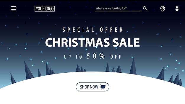 Oferta especial, venda de natal, descontos de até 50%, banner com desconto bonito com noite de inverno dos desenhos animados estrelada