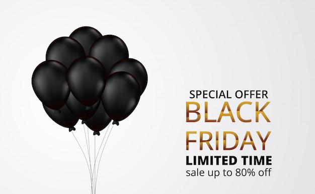 Oferta especial venda de sexta-feira negra com ilustração 3d voando balão de gás de hélio