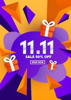 Oferta especial web design banner com caixa de presente e formas poligonais em um fundo gradiente para oferta especial, venda e desconto.