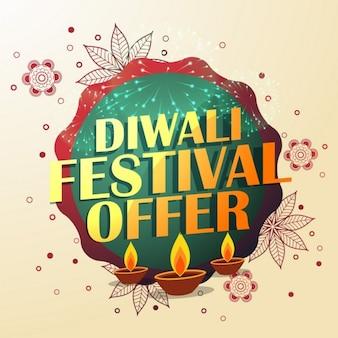 Oferta festival de diwali com bela decoração e três diyas
