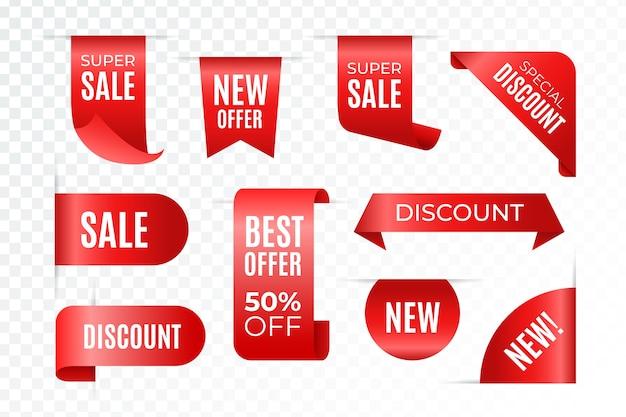 Oferta limitada com rótulos de vendas realistas vermelhos