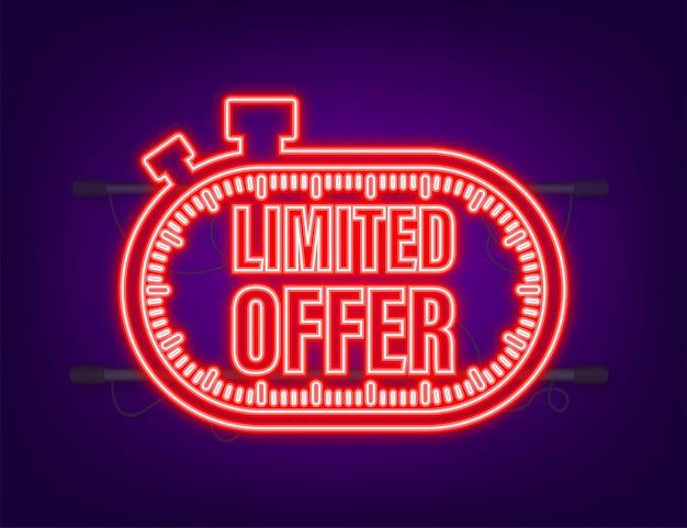 Oferta limitada, ótimo design para qualquer finalidade. ícone de néon. melhor produto. ilustração em vetor das ações.
