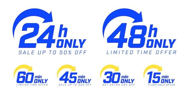 Oferta por tempo limitado para obter venda extra de flash com até 50 ou 25 por cento de desconto na ilustração vetorial isolada