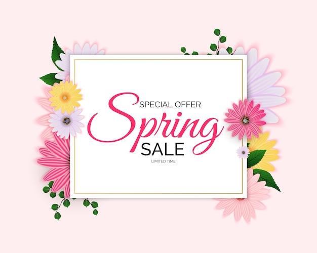 Oferta promocional, cartão de venda temporada de primavera com decoração de plantas, folhas e flores de primavera.