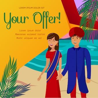 Oferta quente de viagens para a índia modelo de banner plana