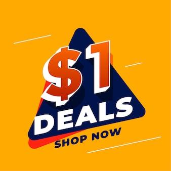 Ofertas de dólar um e banner promocional de venda