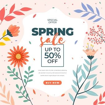 Ofertas de primavera de design plano com flores e pétalas