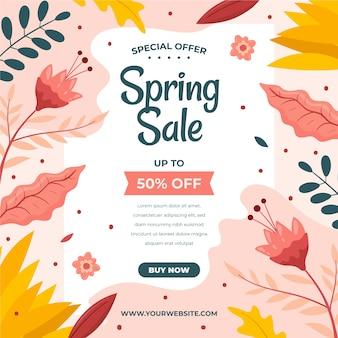 Ofertas de primavera design plano com folhas e flores coloridas