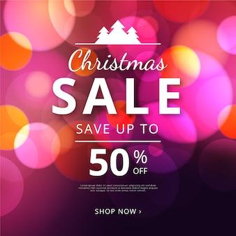 Ofertas de venda de natal de bokeh turva gradiente
