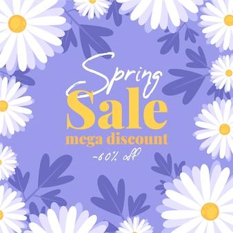 Ofertas de venda de primavera com flores brancas