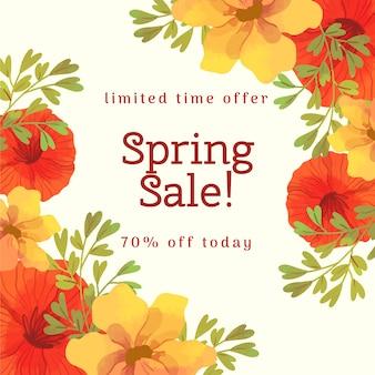 Ofertas de venda de primavera com flores laranja e vermelho