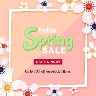 Ofertas de venda de primavera com moldura branca e flores