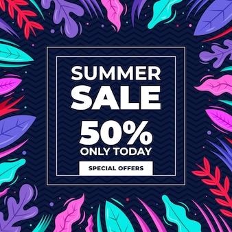 Ofertas de venda de verão de folhas coloridas