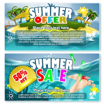 Ofertas de verão e banners de venda
