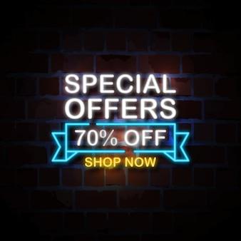 Ofertas especiais 70% de desconto na ilustração de sinal de estilo neon