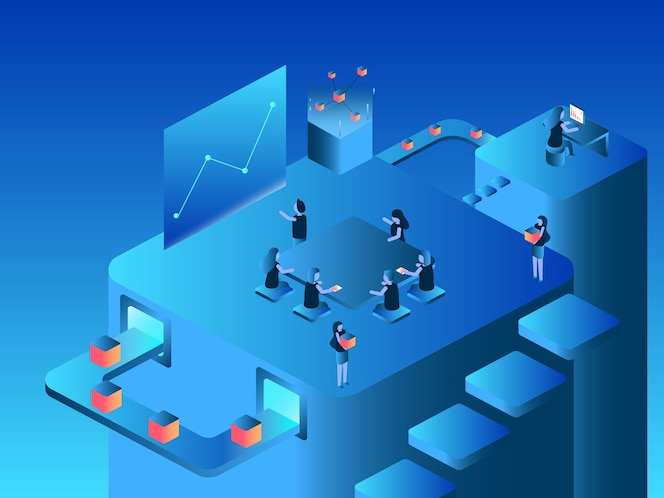 Office blockchain concept business caráter pessoas vector