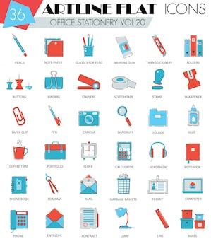 Office stationery flat line icons set