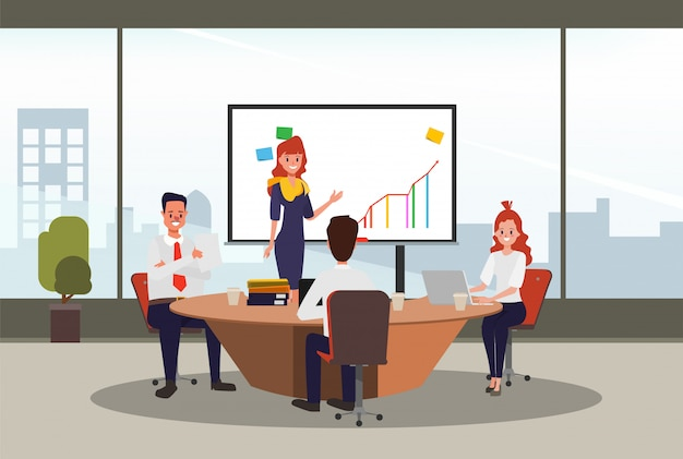 Officeroom negócios pessoas seminário trabalho em equipe na apresentação.