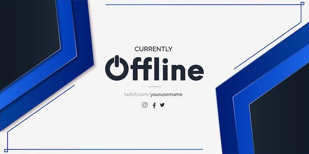 Offline moderno para twitch com formas azuis mínimas