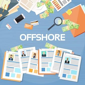 Offshore papers documents company proprietários de pessoas de negócios