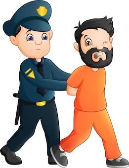 Oficial de polícia dos desenhos animados com um prisioneiro