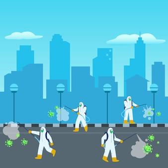 Oficial desinfetante esterilizou a cidade Vetor Premium