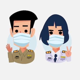 Oficial do governo tailandês com máscara -