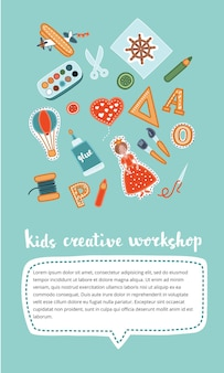Oficina artesanal de crianças verticais criativas.
